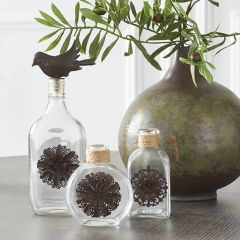 Flower Detailed Glass Bottle Vase
