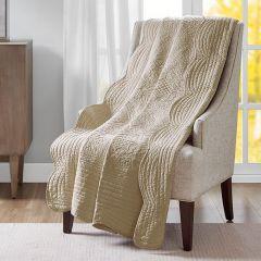 Scalloped Edge Khaki Quilted Throw Blanket