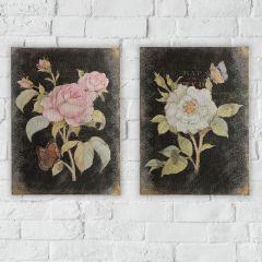 Rose With Butterfly Wall Art Set of 2