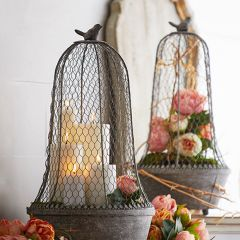 Iron Cloche With Bird Finial Set of 2