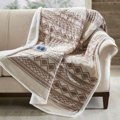 Neutral Southwest Pattern Heated Blanket