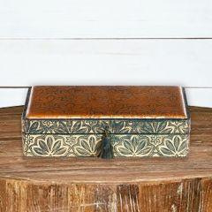Embossed Leather Lidded Storage Box