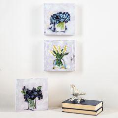 Cottage Florals In Vase Canvas Set of 3