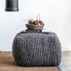 Textured Wool Blend Pouf
