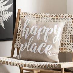 Happy Place Cotton Throw Pillow