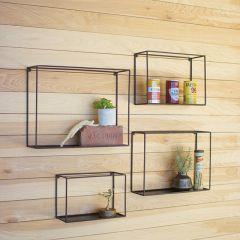 Square Metal Wall Shelf Set of 4