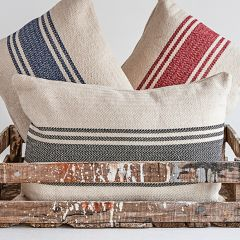 Cotton Canvas Pillow With Grey Stripes