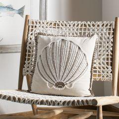Elegant Seashell Accent Pillow