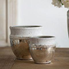 Antique Inspired Ceramic Pot Set of 2