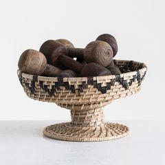 Handwoven Rattan Pedestal Bowl