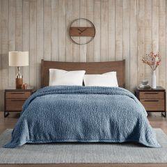 Cozy Berber Bed Blanket Blue