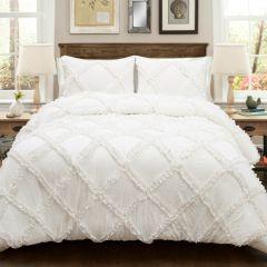 White Ruffle Diamond Comforter Set 3 Pieces