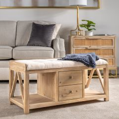 Wood Bench With Cushion and Drawers