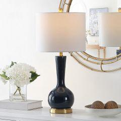 Modern Navy Glass Base Table Lamp