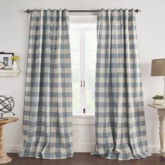 Chambray Buffalo Check Room Darkening Curtain Panel Set of 2 52x95