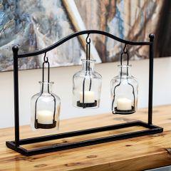 3 Bottle Lantern Centerpiece Display