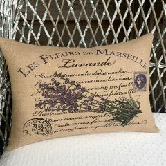 Burlap Lavender Lumbar Pillow