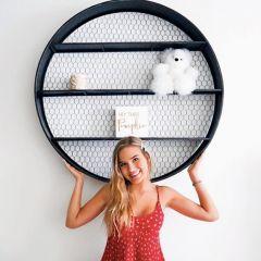 HUGE Round Metal Wall Shelf With Chicken Wire