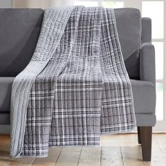 Quilted Plaid Throw Blanket
