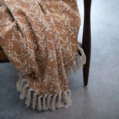 Floral Pattern Throw Blanket With Fringe