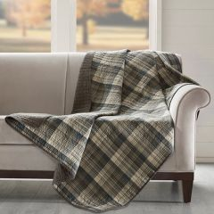 Reversible Quilted Plaid Throw Blanket