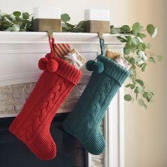 Classic Knit Christmas Stocking Set of 2