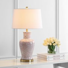 Chic Floral Pattern Ceramic Accent Lamp Set of 2