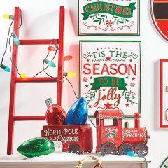 Holiday Hued Fir Wood Ladder
