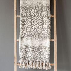 Greyscale Linen Throw Blanket