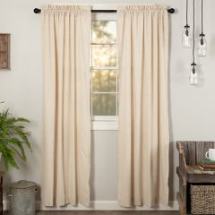 Simple Country Solid Long Curtain Panel Natural Set of 2