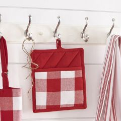 Red and White Buffalo Check Potholders Set of 2