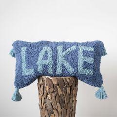 Tasseled Cotton Lumbar Pillow Lake