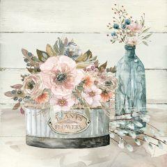 Cottage Floral Scene Wall Art