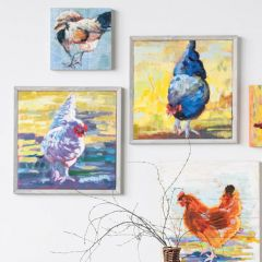 Framed Hand Painted Chicken Wall Decor Set of 2