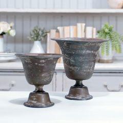 Weathered Metal Urns Set of 2