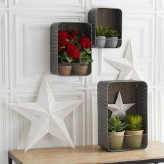 Corrugated Tin Wall Pocket Shelf Set of 3