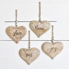 Rustic Inspirational Heart Ornaments Set of 4