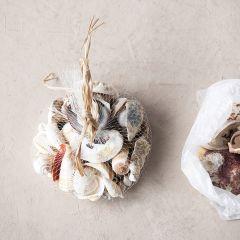 Jute Bag of Shells Set of 2