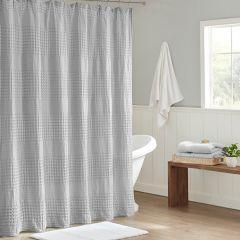 Textured Waffle Shower Curtain