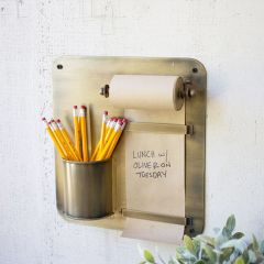 Wall Mount Note Roll With Pencil Cup