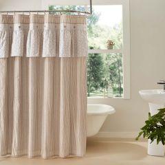 Ruffled Neutral Shower Curtain