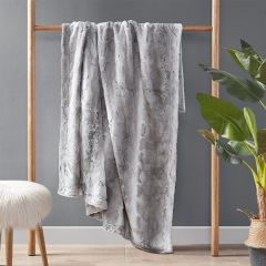 Faux Fur Farmhouse Throw Blanket Grey