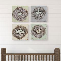Bird Nest Wall Art Collection Set of 4