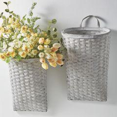 Tall Whitewashed Wall Basket Set of 2