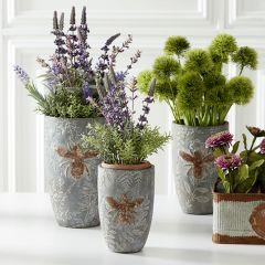 Embossed Bee Cement Vase Pot Set of 3