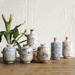 Transferware Terra Cotta Vase Collection Set of 3