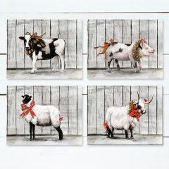 Christmas Farm Animal Canvas Wall Art