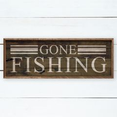 Gone Fishing Rustic Wall Sign