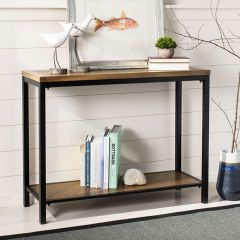 Metal Frame Elm Console Table