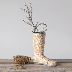 Floral Metal Garden Boot Pot
